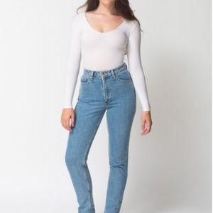 American apparel medium wash high waisted jean